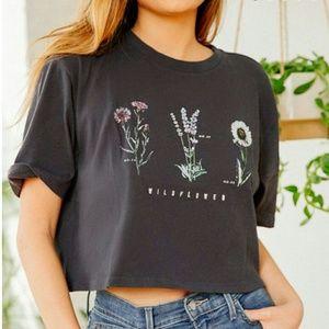 🌼Urban outfitters dark grey wildflower crop top L